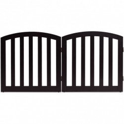 """24"""" 2 Panel Configurable Folding Free Standing Wooden Pet Safety Fence with Arched Top-Brown-A"""