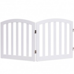 """24"""" 2 Panel Configurable Folding Free Standing Wooden Pet Safety Fence with Arched Top-White-A"""