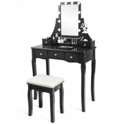 10 Dimmable Light Bulbs Vanity Dressing Table with 2 Dividers and Cushioned Stool-Black