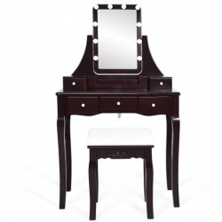 10 Dimmable Light Bulbs Vanity Dressing Table with 2 Dividers and Cushioned Stool-Coffee