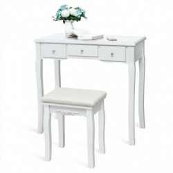 10 Dimmable Light Bulbs Vanity Dressing Table with 2 Dividers and Cushioned Stool-White