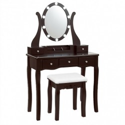 10 Dimmable Lights Vanity Table Set with Lighted Mirror and Cushioned Stool-Coffee