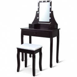 10 LED Lighted Mirror and 3 Drawers Vanity Table Set-Brown