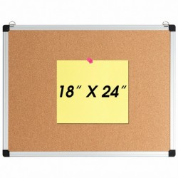 """1 or 3 Pack 24"""" x 18"""" Cork Board Set with 10 Thumb Tacks-1 Pack"""