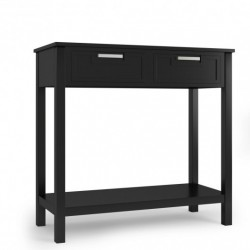 2 Drawers Accent Console Entryway Storage Shelf-Black