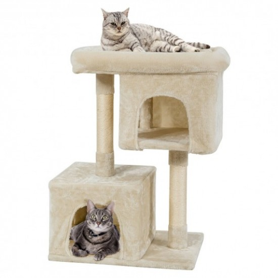 Luxury Cat Tree For Large Cats Beige, Cat Furniture For Large Cats