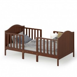 2-in-1 Classic Convertible Wooden Toddler Bed with 2 Side Guardrails for Extra Safety-Brown