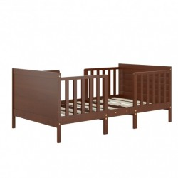 2-in-1 Convertible Kids Wooden Bedroom Furniture with Guardrails-Brown