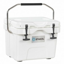 16 Quart 24-Can Capacity Portable Insulated Ice Cooler with 2 Cup Holders-White