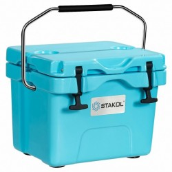 16 Quart 24-Can Capacity Portable Insulated Ice Cooler with 2 Cup Holders-Blue