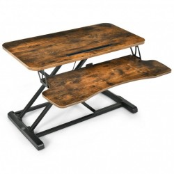 Converter Adjustable Riser Stand Desk with Keyboard Tray-Brown