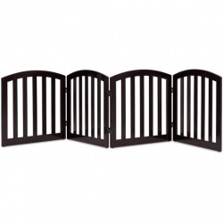 """24"""" Configurable Folding Free Standing 4 Panel Wood Pet Fence-Brown"""