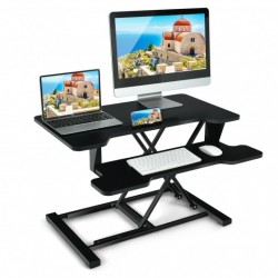 Height Adjustable Standing Desk Converter with Removable Keyboard Tray-Black