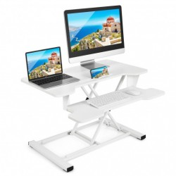 Height Adjustable Standing Desk Converter with Removable Keyboard Tray-White