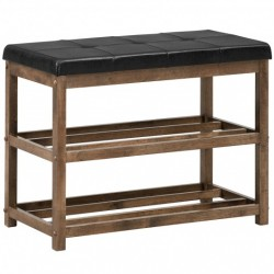 2-Tier Wooden Shoe Rack Bench with Padded Seat-Brown