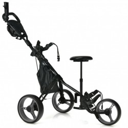 3 Wheels Folding Golf Push Cart with Seat Scoreboard and Adjustable Handle-Gray