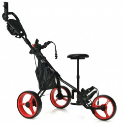 3 Wheels Folding Golf Push Cart with Seat Scoreboard and Adjustable Handle-Red