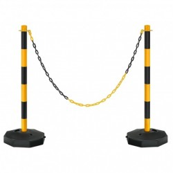 2 Pack 34'' Traffic Delineator Poles with Fillable Base-Yellow