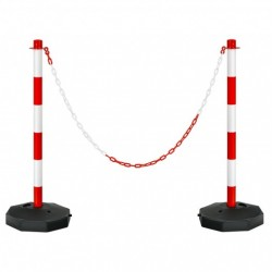 2 Pack 34'' Traffic Delineator Poles with Fillable Base-White