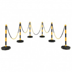 """6 Pack 34"""" Traffic Delineator Poles with 5FT Chains and Fillable Base-Yellow"""