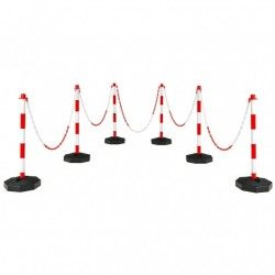 """6 Pack 34"""" Traffic Delineator Poles with 5FT Chains and Fillable Base-White"""