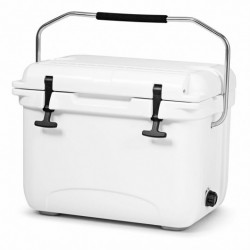 22 Quart Portable Ice Chest Cooler with 30 Cans-White