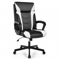 Swivel PU Leather Office Gaming Chair with Padded Armrest-White