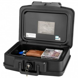 Space-Saving and Waterproof 30 Minute Fire Safe Box with Lock and Handle-Black