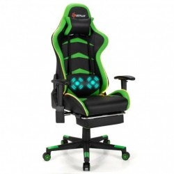 Massage LED Gaming Chair with Lumbar Support and Footrest-Green