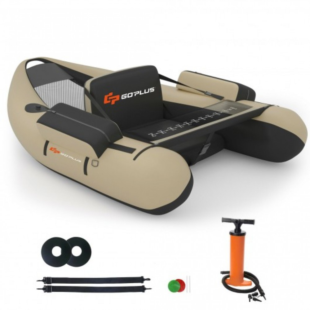 Inflatable Fishing Float Tube with Pump Storage Pockets and Fish Ruler-Beige