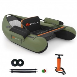 Inflatable Fishing Float Tube with Pump Storage Pockets and Fish Ruler-Green