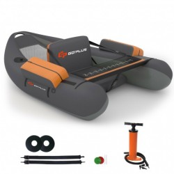 Inflatable Fishing Float Tube with Pump Storage Pockets and Fish Ruler-Gray