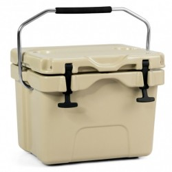 16 Quart 24-Can Capacity Portable Insulated Ice Cooler with 2 Cup Holders