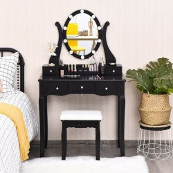 10 Dimmable Lights Vanity Table Set with Lighted Mirror and Cushioned Stool-Black