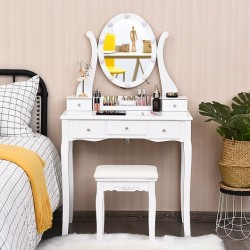 10 Dimmable Lights Vanity Table Set with Lighted Mirror and Cushioned Stool-White