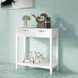 2 Drawers Accent Console Entryway Storage Shelf-White