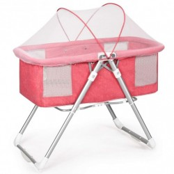 2 in 1 Foldable Crib with Detachable & Thicken Mattress-Pink