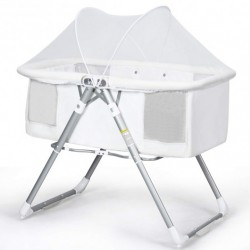 2 in 1 Foldable Crib with Detachable & Thicken Mattress-White