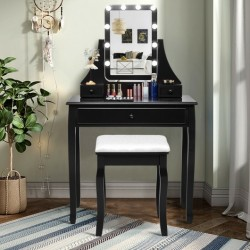 10 LED Lighted Mirror and 3 Drawers Vanity Table Set-Black