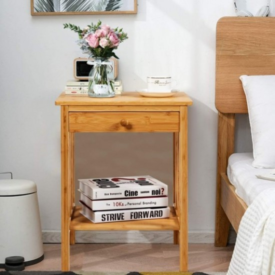 Multipurpose Bamboo End Table  with Drawer and Storage Shelf for Living Room-Natural