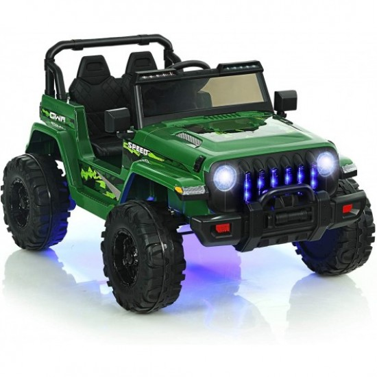 12V Kids Ride-on Jeep Car with 2.4 G Remote Control-Green