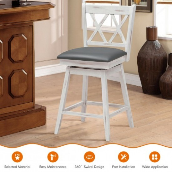 2 Pieces 24 Inches Swivel Counter Height Barstool Set with Rubber Wood Legs-White