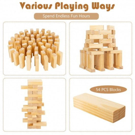 54 PCS Tumbling Timber Toy with Carrying Bag