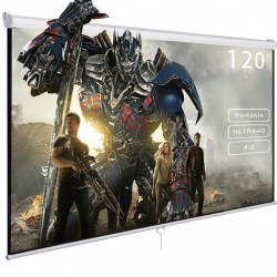 """120"""" 4:3 Manual Pull Down Auto-Lock Projector Projection Screen White 96""""x72"""""""