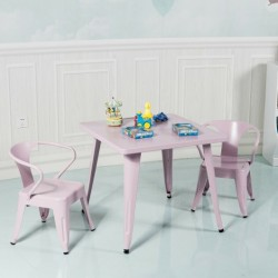 27'' Kids Square Steel Table Play Learn Activity Table-Pink