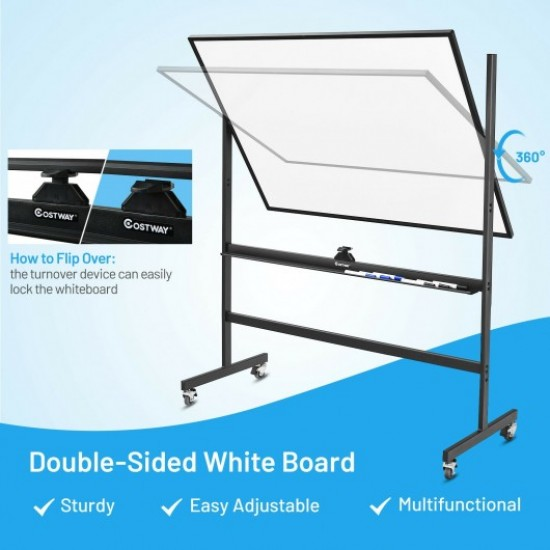 48 x 36 Inch Mobile Magnetic Double-Sided Reversible Whiteboard Height Adjust