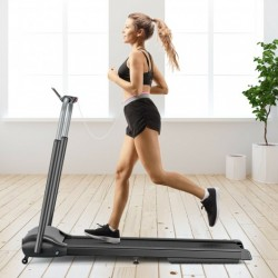 Compact Folding Treadmill with Touch Screen APP Control-Black