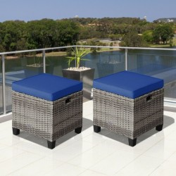 2 Pieces Patio Rattan Ottoman Seat with Removable Cushions-Navy